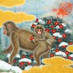 「春背負う」 F0号 紙本彩色・箔  2015年制作