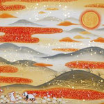 「夕陽」 P6号 紙本彩色・箔  2015年制作