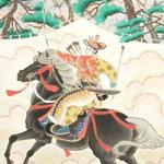 「流鏑馬・桜」 F25号  紙本彩色 2012年制作