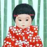 「竹のように」 F0号 紙本彩色 2014年