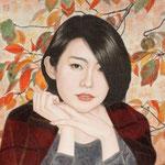 「紅冠佳人」 S4号 紙本彩色・箔  2015年制作