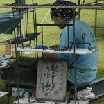 おなじみ、人気の刃物屋さん。京都から原付での参加です。スゴイ!!