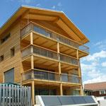 MFH mit Holzfassade und Terrassen nach Süden.