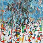 Victory, tecnica mista su tela, cm 70x100, 2005, collezione privata