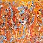 Energia interiore, tecnica mista su tela, cm 85x150, 2010
