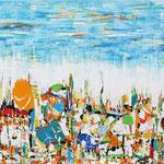 Parata, tecnica mista su tela, cm 60x120, 2006, collezione privata