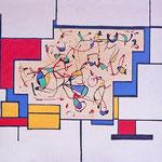 Inseguendo lo spazio, tecnica mista su tela, cm 50x70, 1986