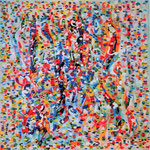 Linguaggio dei segni, olio su tela, cm 70x70, 2002