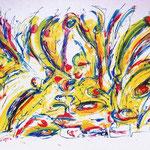 Potenzialità solare, tecnica mista, cm 100x150, 1989, collezione privata