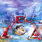 Dimensioni incompatibili, tecnica mista, cm 70x100, 1993, collezione privata
