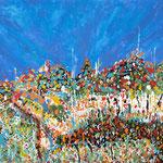 Paesaggio magico, tecnica mista su tela, cm 70x100, 2010
