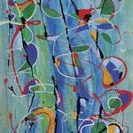 Divagazioni superficiali, tecnica mista su tela, cm 50x70, 1991