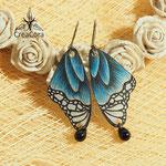 Ohrringe Schmetterling blau mit Perle