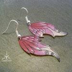 Ohrringe Elfenflügel Acrylfolie pink