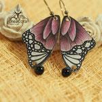 Ohrring Schmetterling lila mit Perle