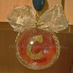 n. 05 Pallina diam. 8cm  fantasia rosso/oro 1/2