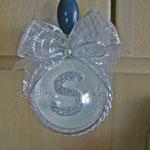 n. 03 Pallina diam. 8cm  fantasia bianco/argento 1/3