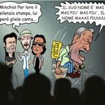 "Vignetta - Piero Pelù - Jovanotti - Liga - Zamparini ""Mai Più"""