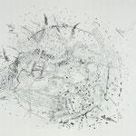 Kristin Finsterbusch, Dresden Mitte, Lithografie, Kreide, Abklatsch, 55x60 cm