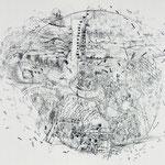 Kristin Finsterbusch, Dresden Mitte, Lithografie, Kreide, 50x60 cm