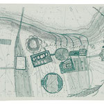 Kristin Finsterbusch, Dresden 1, Radierung, 2000, 25x60 cm