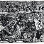 Kristin Finsterbusch, Brühlsche Terasse, Lithografie, Schaber auf geschwärztem Stein, 1999, 20x30 cm