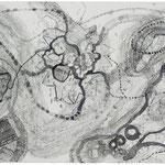 Kristin Finsterbusch, Roma Z2, Zeichnung, Tusche, 1998, 30x60 cm