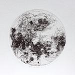 Kristin Finsterbusch, planet 2 black, Tiefdruck, vernis mou, 2015, d 13 cm