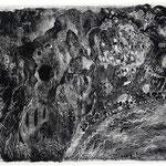 Kristin Finsterbusch, Elbsandstein, Lithografie, Schaber auf geschwärztem Stein, 1999, 20x30 cm