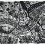 Kristin Finsterbusch, Heimwärts, Lithografie, Schaber auf geschwärztem Stein, 1999, 25x40 cm