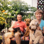 Tom, Ann & dogs; Cracker, Katie & Meira