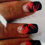 Erika's Nagelstudio - Nails - Orange-Schwarz Lines