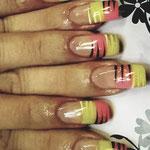 Erika's Nagelstudio - Nails - Rot-Gelb-Schwarz Lines