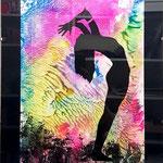 -Frau1-  30cm x 40cm mit Rahmen, Acryl auf Papier 320g², fluoreszierend, Siebdruck