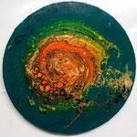 -Spiralgalaxie- Ø30cm x 1,5cm, Acryl auf Leinwand