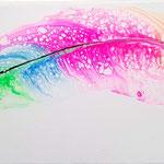 -Da war doch noch ein Haken- 50cm x 20cm, Acryl auf Leinwand, fluoreszierend
