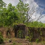 Lost Place: ehemaliger Arnos Vale Waterwheel Park bzw. Zuckerrohrmühle, zerfallen und zugewachsen (kein Weg mehr zum Wasserrad)