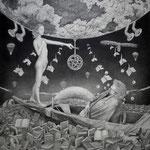 「阿呆船」 百科事典に 閉ざされた海をさ迷う 二百年 沈んだ大地を 弔うように盲いたボクは 床を這う放した鳥が 帰らぬように落として欲しいと ボクは乞う 話した声を 虫食うように答えたキミは 失語症預言者達が 死にゆくように愛して欲しいと キミはいう あぁ  麗しき紙魚の女王  鉛筆/ケント紙350 ×350mm