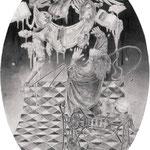 ケイローンがその名を語るまでには、多くの受難がつきまとった。 淫らな貨幣 / トマス・ブルーノ 鉛筆/ケント紙 158×225mm