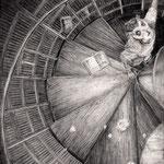 いくら登っていっても法則性を見出せない四方の壁面に、階段の数を数え続けなければ、すぐにでも自分の現在地を見失いそうだった。 記憶の図書館  /  Jマイケル・ホブソン 鉛筆/ケント紙 140×180mm
