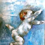 Autore : Anna Maria Scocozza - Titolo: Ri-nascita - Tecnica: Acquerello su carta - Dimensioni: 70x50 cm