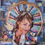 Autore: Roberto Esposito - Titolo: Lui sa - Tecnica: Collage su carta - Dimensioni: 30x30 cm