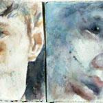 Autore : Anna Maria Scocozza - Titolo: Anima mundi 2 - Tecnica: Acquerello su carta - Dimensioni: 95,7x28,5 cm