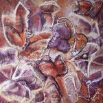 Autore : Dolores Filippo - Titolo: Farfalla viola - Tecnica: Olio su tela - Dimensioni:50x50x3,80 cm
