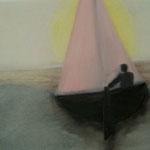 Autore : Felice La Sala - Titolo: Il diportista - Tecnica: Olio su tela - Dimensioni: 50x70 cm
