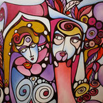 Autore : Adelaide Scavino - Titolo: Famiglia patologica ma felice e innamorata - Tecnica: Acrilico su tavola di legno - Dimensioni: 60x60x3 cm