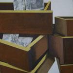 Autore : Luisa Bergamini - Titolo: Il passato e il futuro - Tecnica: Mista su tavola - Dimensioni: 62x40 cm