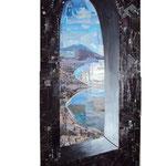 Autore : Roberto Esposito - Titolo: Napoli - Tecnica: Collage su tavola - Dimensioni: 80x30 cm