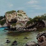 Autore : Giuseppa Matraxia - Titolo: Scoglio Isola Bella - Tecnica: Olio e acrilico - Dimensioni: 80x70 cm