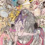"""Autore : Salvatore Cirillo - Titolo: """"2001"""" e la libera interpretazione dell'osservatore - Tecnica: Fusione lineare 360° tramite bic, pastelli e impronta biologica su carta - Dimensioni: 20x25"""